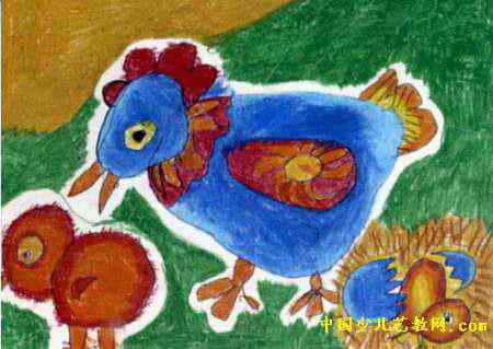 儿童画 郭炳忠/小鸡一家儿童画属于油画棒画,作品长319px,宽450px,作者郭...