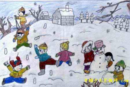 快乐的冬天儿童画2幅