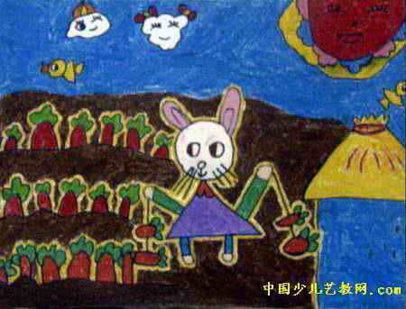 胡萝卜大丰收儿童画,这幅油画棒画作品长343px,宽450px,作者张政,男
