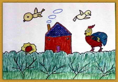 美丽的乡村儿童画2幅