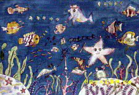 海底音乐会儿童画4幅