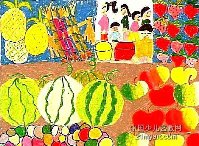 水果摊儿童画2幅
