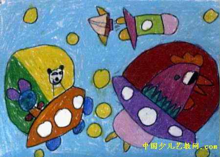 看大海儿童画2幅