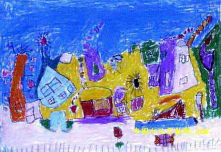可爱的小屋儿童画3幅(第2张)