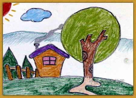 家乡的早晨油画棒儿童画