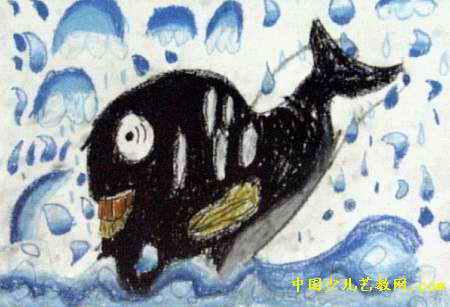 大鲸鱼儿童画属于油画棒画