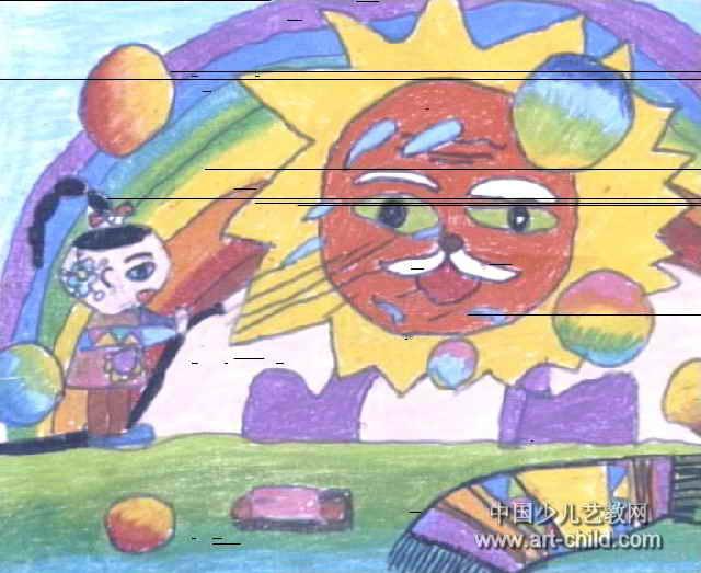 给太阳公公洗澡儿童画2幅