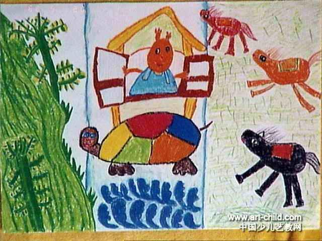 会动的房子儿童画,此幅油画棒画大小为480x640像素 ...
