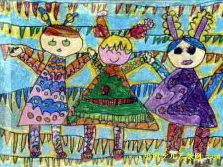 蓝天下我们一起长大儿童画