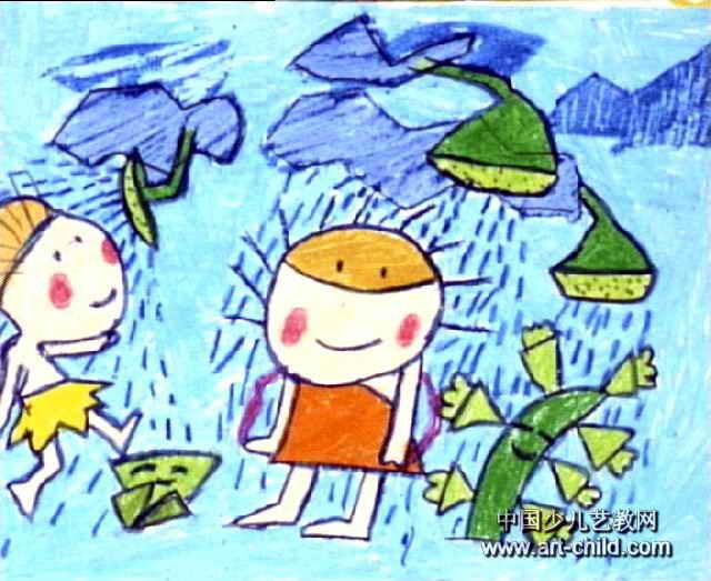云彩喷泉儿童画作品欣赏