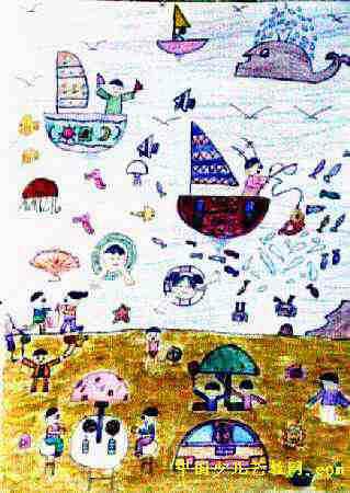 美丽的大海儿童画,此幅油画棒画尺寸为450x319像素