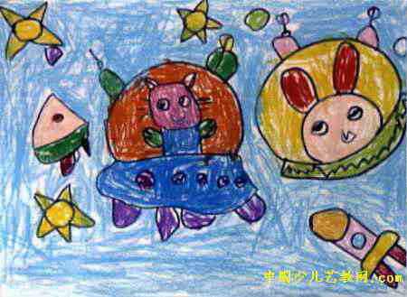 开着飞船去旅行儿童画