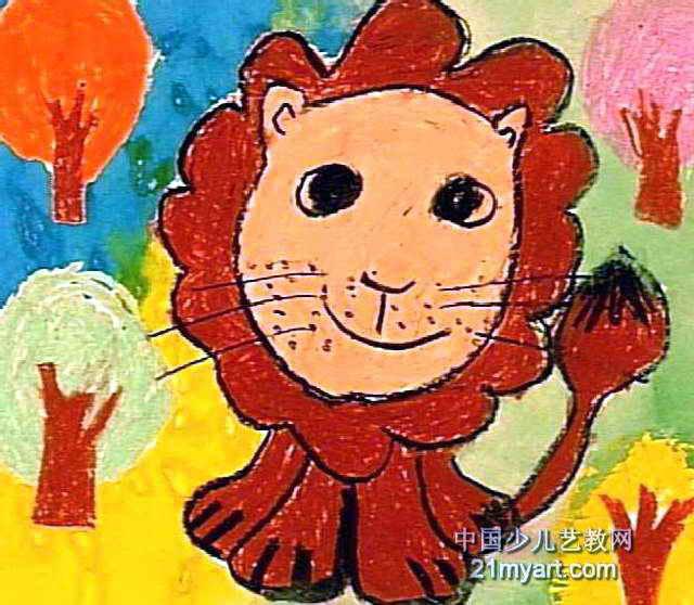 可爱的大狮子儿童画2幅