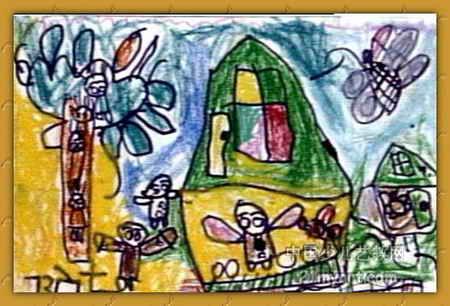 快乐的世界儿童画2幅