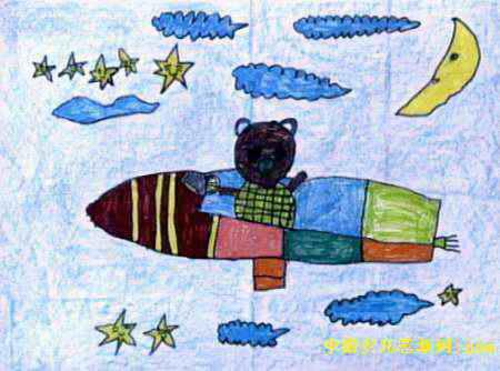 太空旅游儿童画4幅