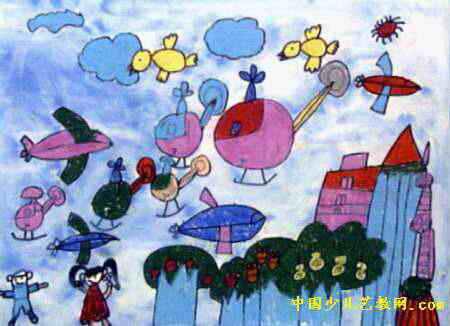 飞机儿童画