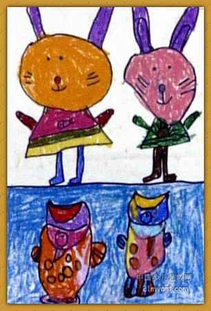 小兔子和小鱼儿童画