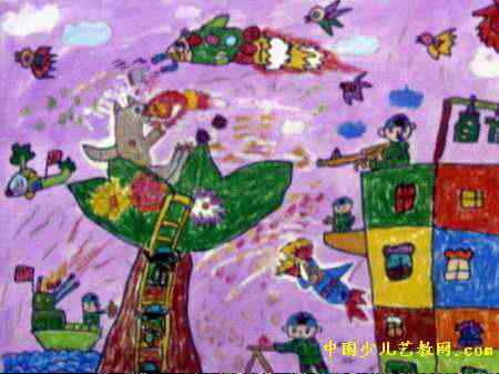 我的老师儿童画9幅 人兽之战儿童画