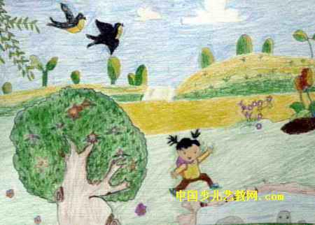 男,8岁,来自宁波市镇海区蛟川街道棉丰小学.   春来了儿童画属于