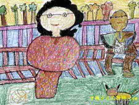公园长椅上的爷爷奶奶儿童画