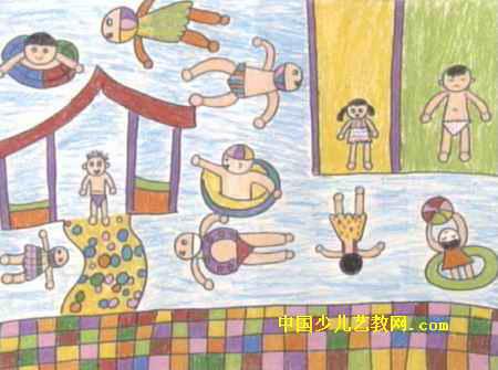 我们去游泳儿童画