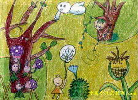 春天儿童画,这幅油画棒画作品长327px