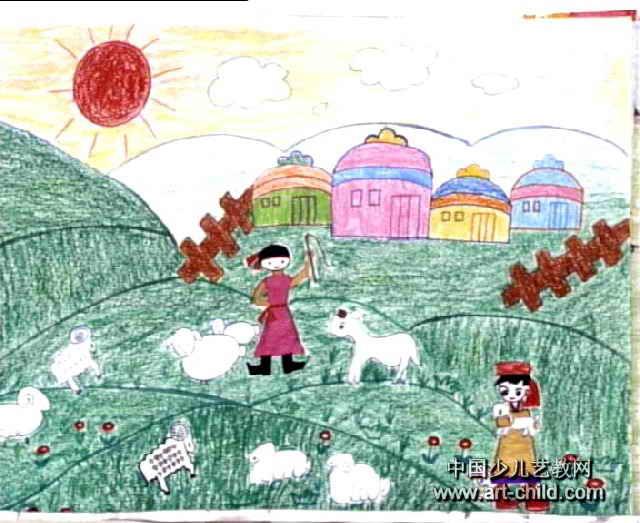 草原简笔画-美丽的草原我的家儿童画5幅 第4张