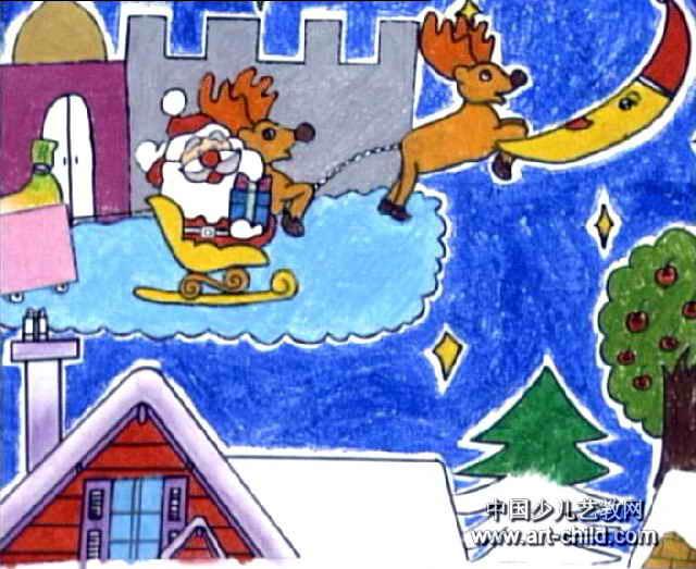 平安夜圣诞节简笔画-幸福的圣诞夜儿童画作品欣赏