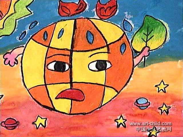 地球找不到绿衣裳儿童画作品欣赏