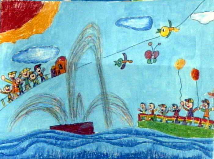 看喷泉儿童画作品欣赏