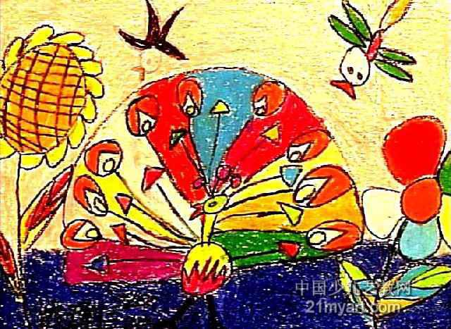 孔雀展姿儿童画作品欣赏