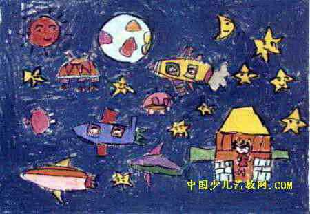 家住太空儿童画图片