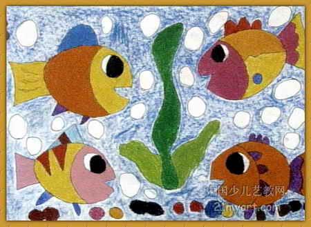 海底世界儿童画属于油画棒画,长329px,宽450px,作者王天锐,女,5岁