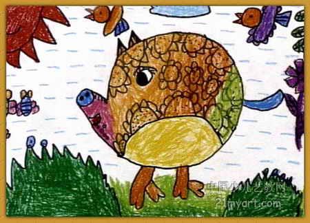 大花猪儿童画图片