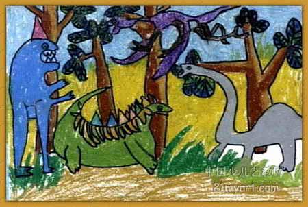 恐龙家族儿童画2幅