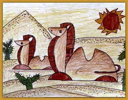 沙漠之舟儿童画2幅