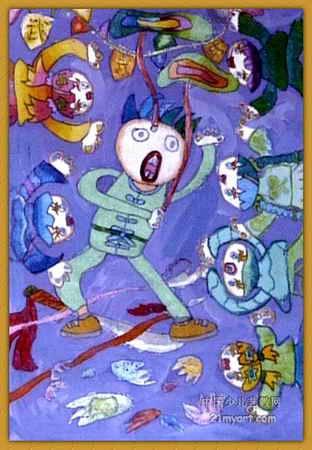 摔跤儿童画作品欣赏 小鱼跳舞儿童画