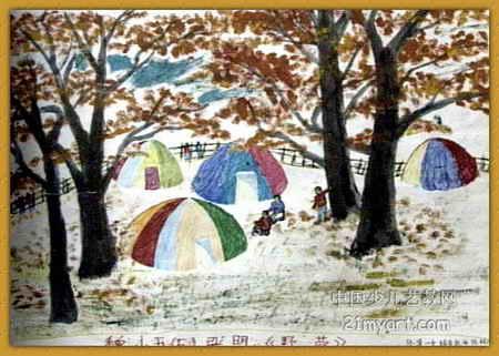 野营儿童画2幅