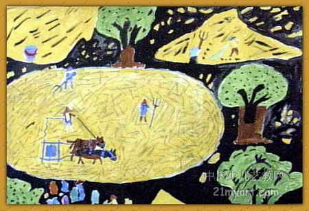 秋收儿童画,这幅油画棒画作品长307px