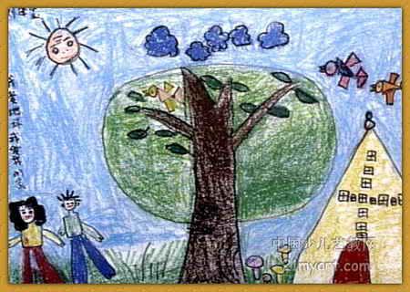 儿童画 我爱 刘泽玺/我爱地球我爱我的家儿童画属于油画棒画,大小为320x450像素,...