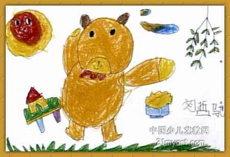 小熊在跳舞儿童画