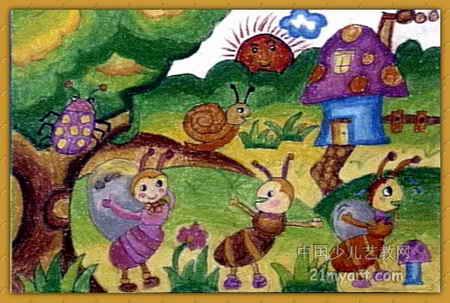 蚂蚁搬家儿童画属于油画棒画,作品长303px,宽450px,作者林彦含,女,6岁,就读嘉兴市文昌路幼儿园(万舟分园).