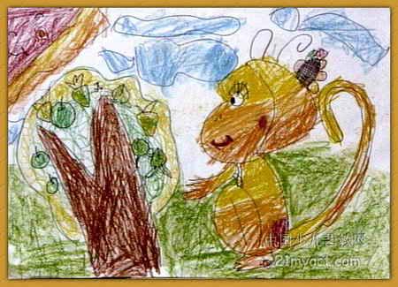 小猴吃桃儿童画