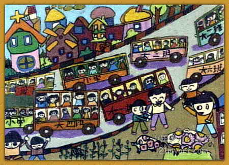 秋游路上儿童画   热门儿童油画棒画图片