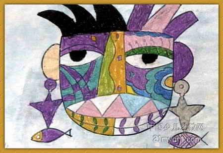 奇怪的脸儿童画属于油画棒画,长309px,宽450px,作者郑至,男,4岁,来自
