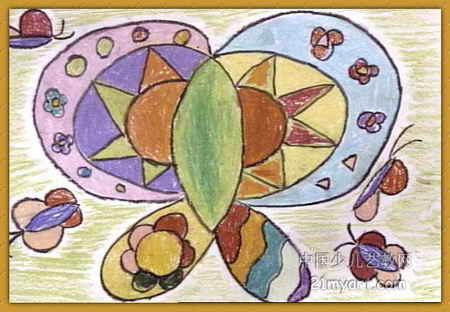 蝴蝶花儿童画