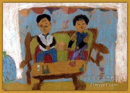 看电视的姥爷和姥姥儿童画