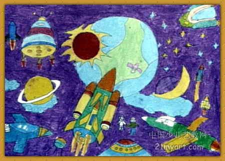 儿童油画棒简笔画_神奇的宇宙儿童画2幅