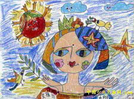 女孩与太阳儿童画