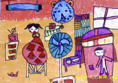 夏天儿童画,此幅油画棒画尺寸为318x450像素